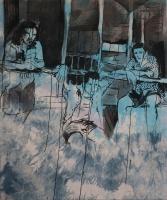 daniel ferstl; limbo (detail); 2013;oil:ink:hand dyed canvas; 180x140 cm @JeRegretteBerlin-klein