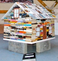 JPKinsella.Sligo Farm house,2011. Books,glue, Picture frame, Five acrylic canvases and cement blocks. (600x630)